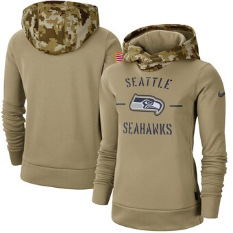 Women's Seattle Seahawks Khaki 2019 Salute to Service Therma Pullover Hoodie(Run Small)