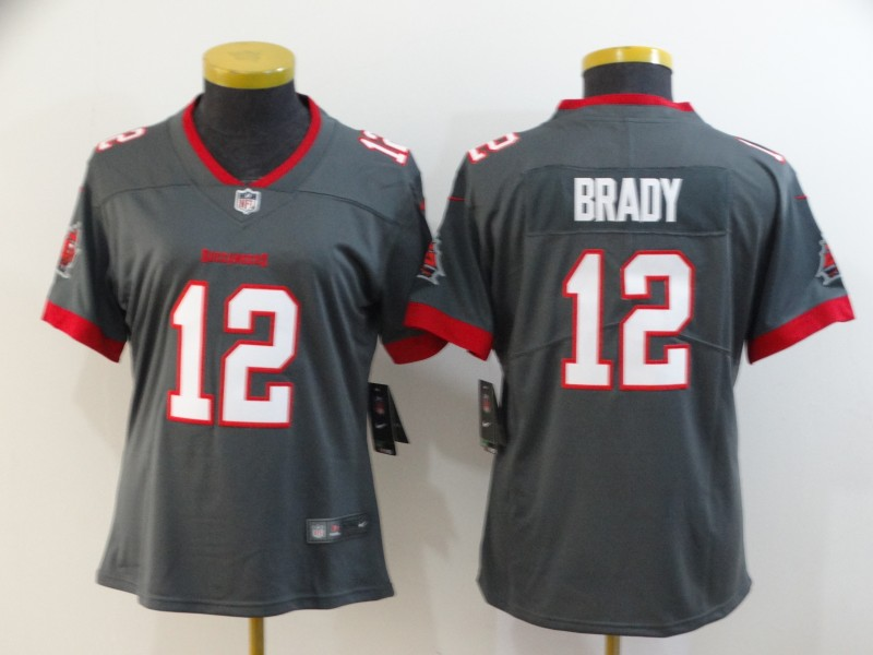 Women's Tampa Bay Buccaneers #12 Tom Brady Grey 2020 Vapor Untouchable Limited Stitched NFL Jersey(Run Small)