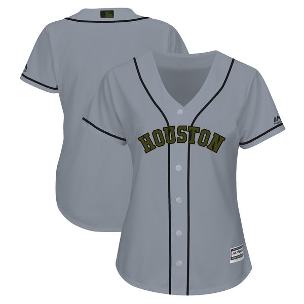 Women's Houston Astros Blank Gray Women 2018 Memorial Day Cool Base Stitched MLB Jersey