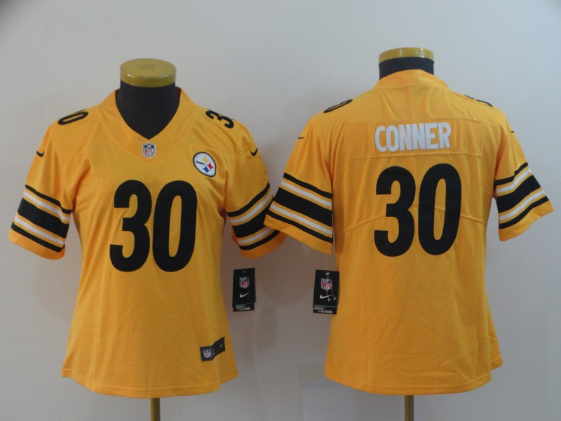 Women's Pittsburgh Steelers #30 James Conner Gold Inverted Legend Stitched NFL Jersey(Run Small)