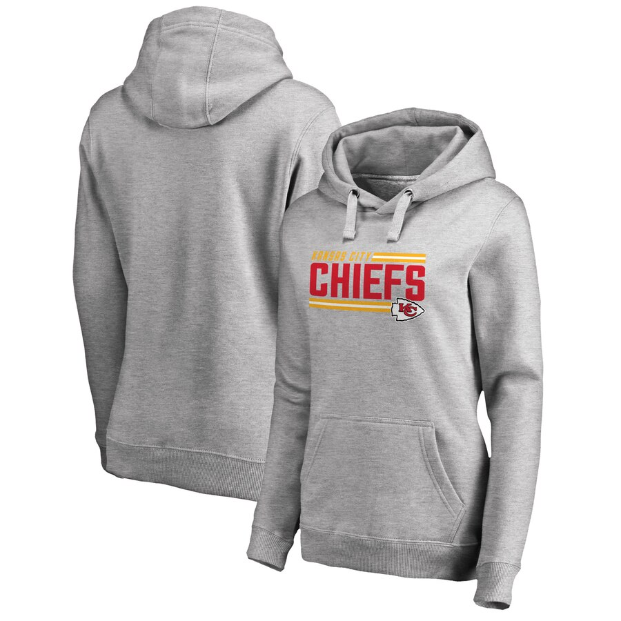 Women's Kansas City Chiefs Ash Iconic Collection On Side Stripe Plus Size Pullover Hoodie(Run Small)