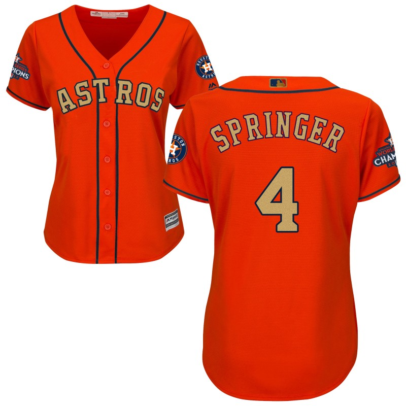 Women's Houston Astros #4 George Springer Orange 2018 Gold Program Cool Base Stitched MLB Jersey