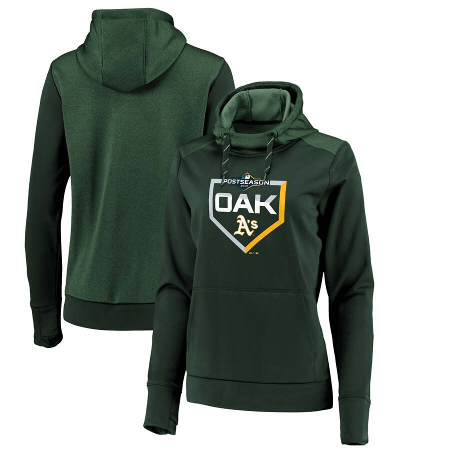 Women's Oakland Athletics Majestic Green 2019 Postseason Dugout Pullover Hoodie(Run Small)
