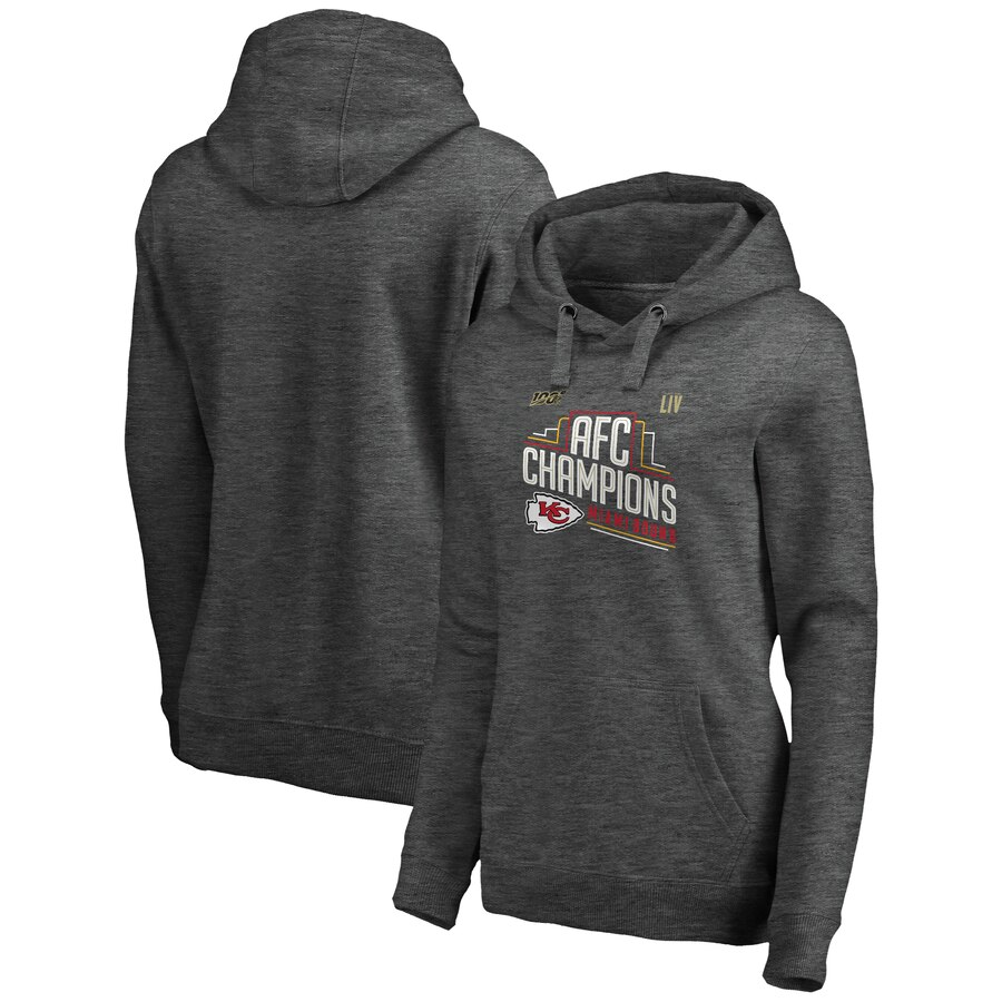 Women's Kansas City Chiefs Heather Charcoal 2019 AFC Champions Trophy Collection Locker Room Crossover V-Neck Pullover Hoodie(Run Small)