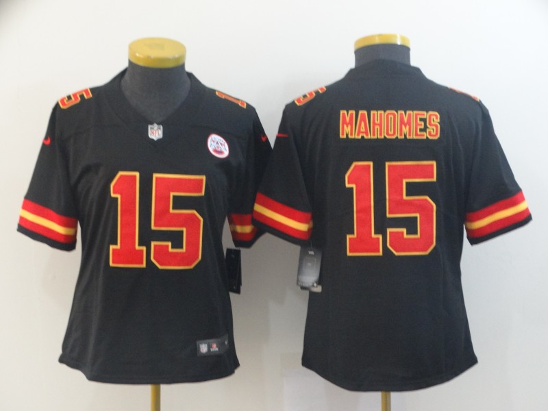 Women's Kansas City Chiefs #15 Patrick Mahomes Black Vapor Untouchable Stitched NFL Jersey(Run Small)