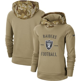 Women's Oakland Raiders Khaki 2019 Salute to Service Therma Pullover Hoodie(Run Small)