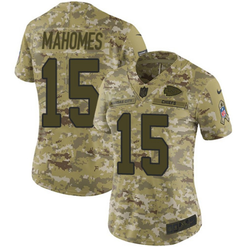 Women's Kansas City Chiefs #15 Patrick Mahomes 2018 Camo Salute to Service Limited Stitched NFL Jersey