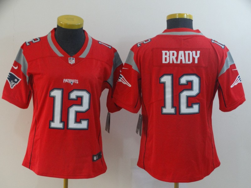 Women's New England Patriots #12 Tom Brady Red Inverted Legend Stitched NFL Jersey(Run Small)