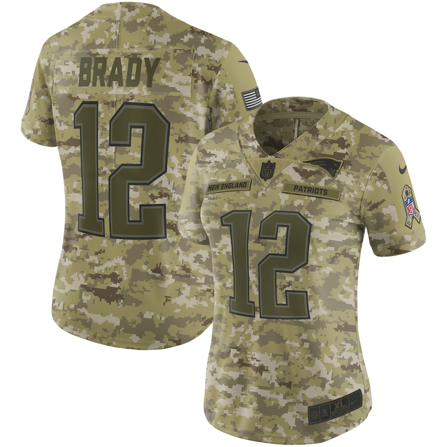 Women's New England Patriots #12 Tom Brady 2018 Camo Salute to Service Limited Stitched NFL Jersey