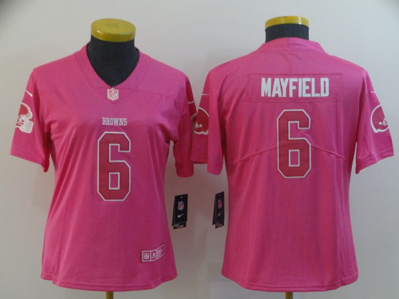 Women's Cleveland Browns #6 Baker Mayfield Pink Vapor Untouchable Limited Stitched NFL Jersey(Run Small)