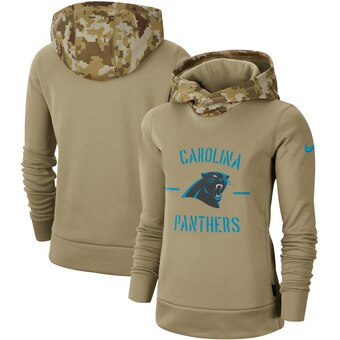 Women's Carolina Panthers Khaki 2019 Salute to Service Therma Pullover Hoodie(Run Small)