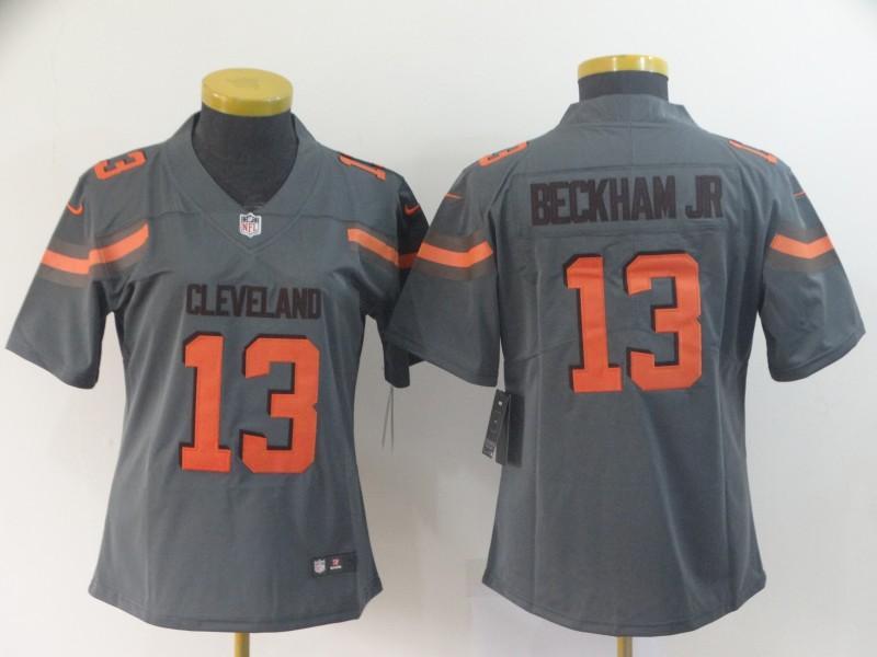 Women's Cleveland Browns #13 Odell Beckham Jr. Gray Inverted Legend Stitched NFL Jersey(Run Small)