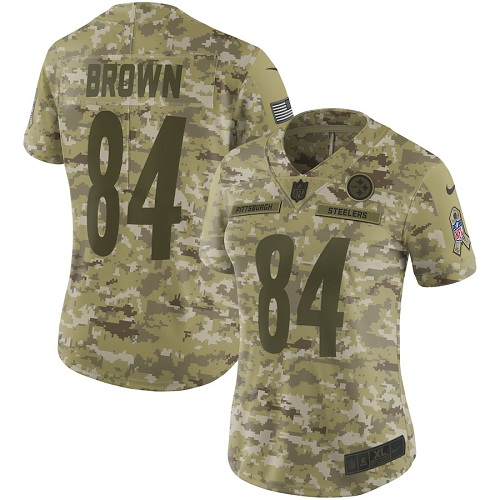 3fe712239 Women s Pittsburgh Steelers  84 Antonio Brown 2018 Camo Salute to Service Limited  Stitched NFL Jersey