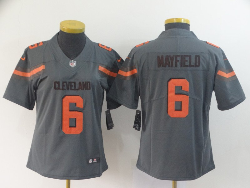Women's Cleveland Browns #6 Baker Mayfield Gray Inverted Legend Stitched NFL Jersey(Run Small)