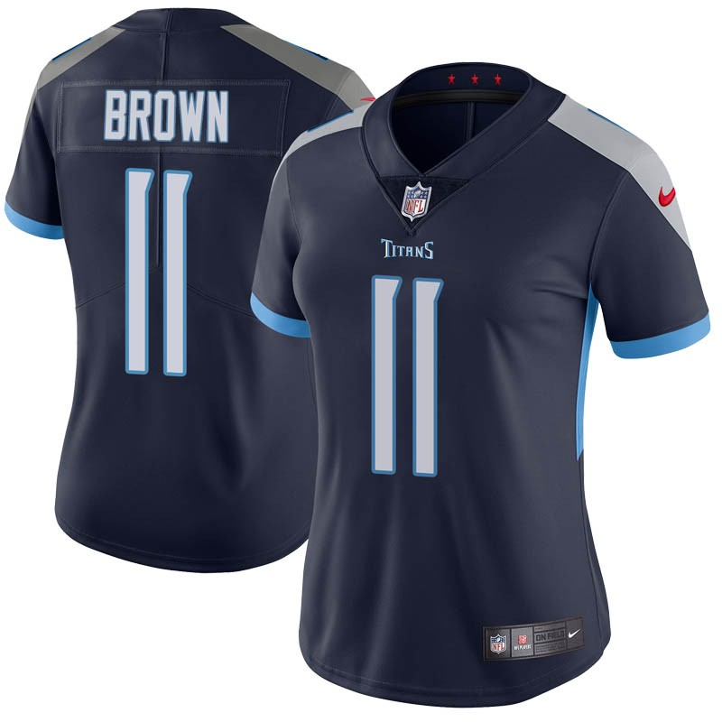 Women's Tennessee Titans #11 A.J. Brown Navy Vapor Untouchable Limited Stitched Jersey(Run Small)