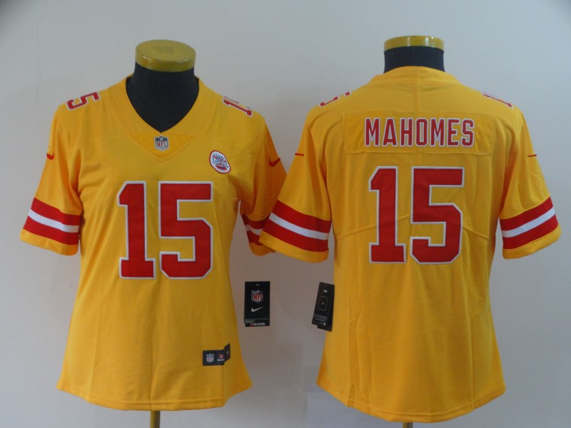 Women's Kansas City Chiefs #15 Patrick Mahomes Gold Inverted Legend Stitched NFL Jersey(Run Small)