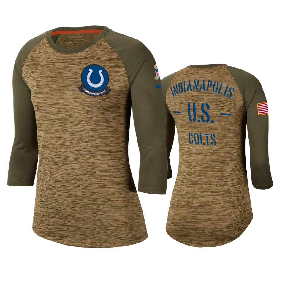 Women's Indianapolis Colts Khaki 2019 Salute to Service Legend Scoopneck Raglan 3/4 Sleeve T-Shirt(Run Small)