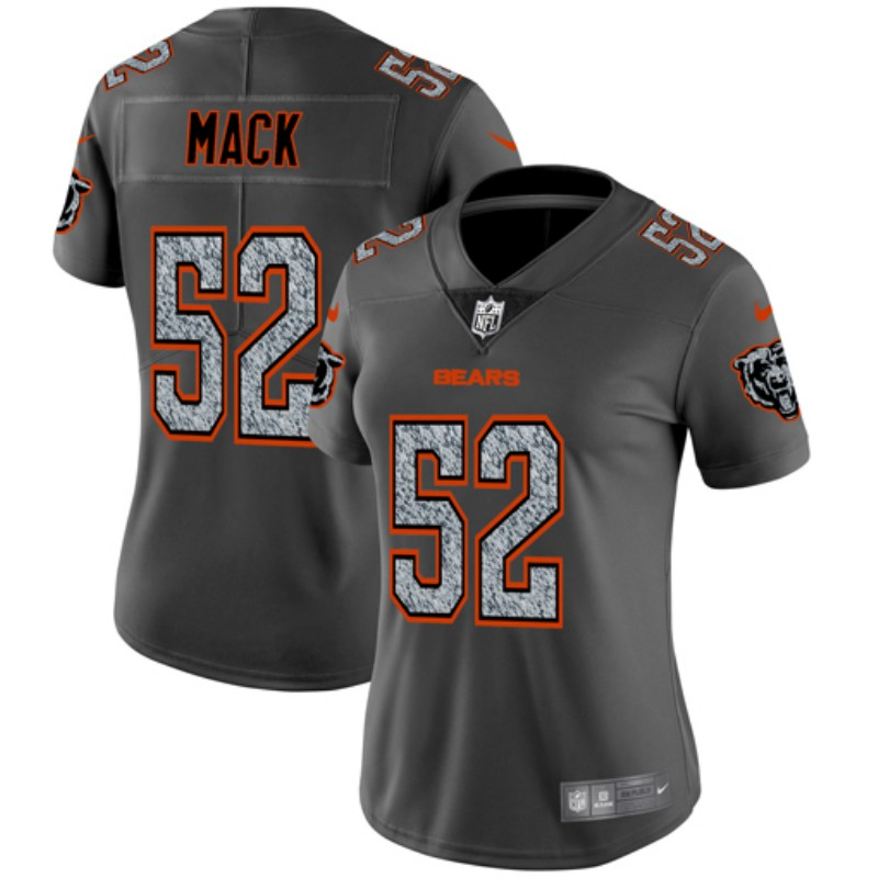 Women's Chicago Bears #52 Khalil Mack 2019 Gray Fashion Static Limited Stitched NFL Jersey(Run Smal)