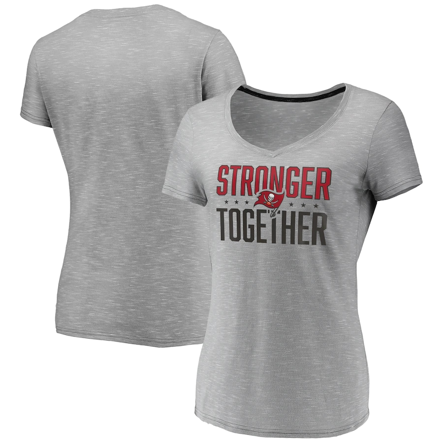 Women's Tampa Bay Buccaneers Gray Stronger Together Space Dye V-Neck T-Shirt(Run Small)
