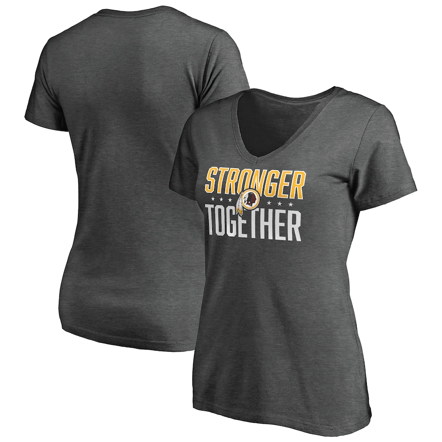 Women's Washington Redskins Heather Stronger Together Space Dye V-Neck T-Shirt(Run Small)