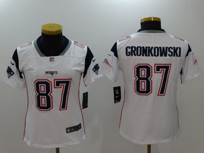 Women's New England Patriots #87 Rob Gronkowski White Vapor Untouchable Limited Stitched NFL Jersey
