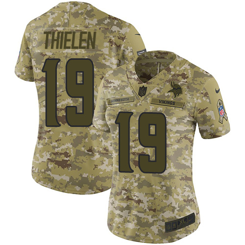 Women's Minnesota Vikings#19 Adam Thielen 2018 Camo Salute to Service Limited Stitched NFL Jersey
