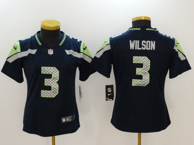 Women's Seattle Seahawks #3 Russell Wilson Blue Vapor Untouchable Limited Stitched NFL Jersey