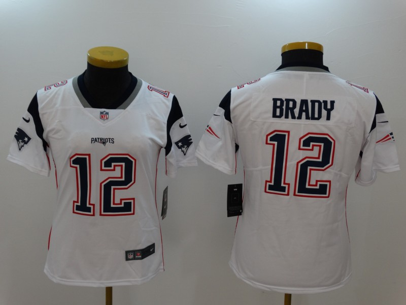 Women's New England Patriots #12 Tom Brady White Vapor Untouchable Limited Stitched NFL Jersey