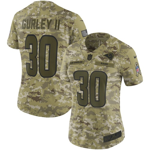 Women's Los Angeles Rams #30 Todd Gurley 2018 Camo Salute to Service Limited Stitched NFL Jersey