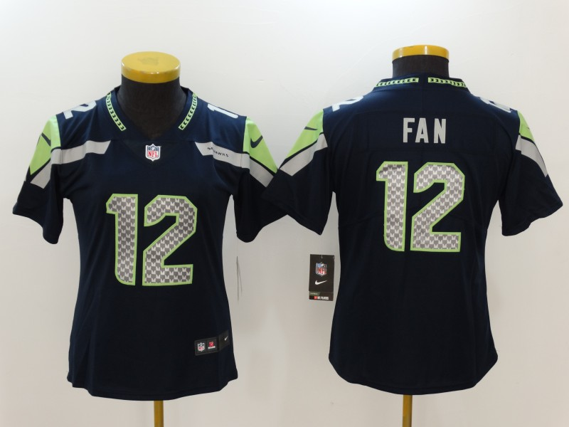 Women's Seattle Seahawks #12 Fan Blue Vapor Untouchable Limited Stitched NFL Jersey