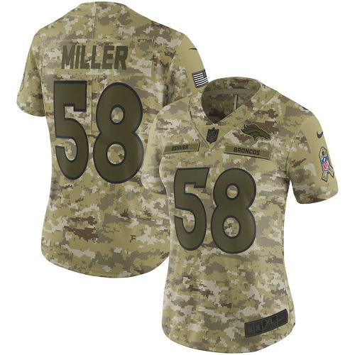 Women's Denver Broncos #58 Von Miller 2018 Camo Salute to Service Limited Stitched NFL Jersey
