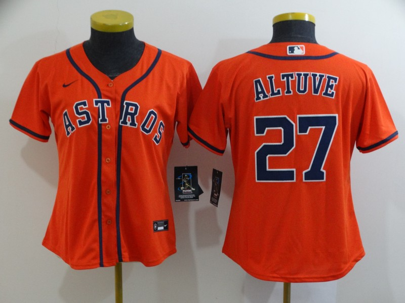 Women's Houston Astros #27 Jose Altuve 2020 Orange Cool Base Stitched MLB Jersey(Run Small)