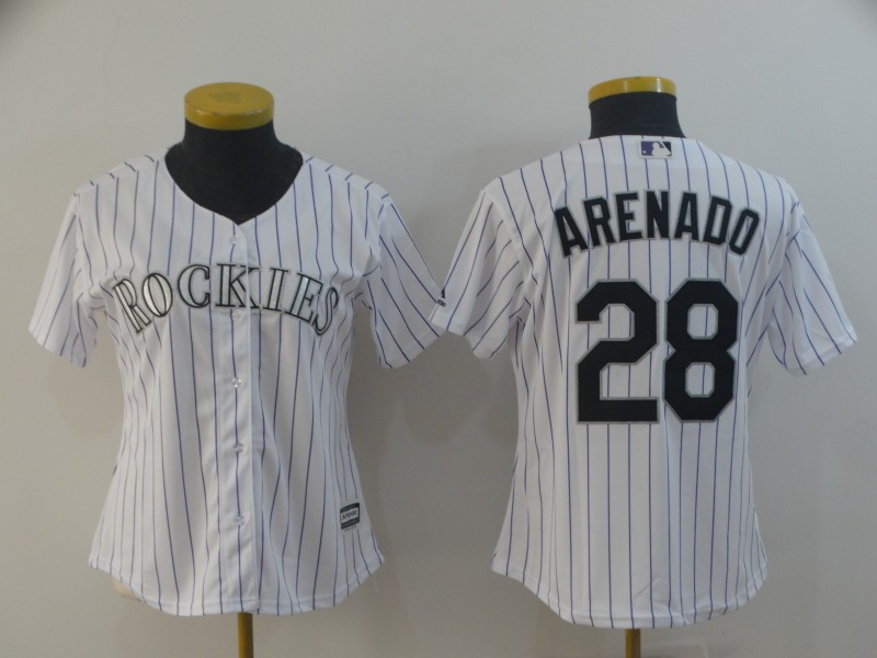 Men's Colorado Rockies #28 Nolan Arenado White Cool Base Stitched MLB Jersey