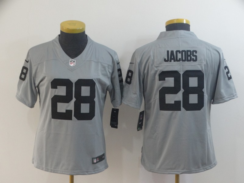 Women's Oakland Raiders #28 Josh Jacobs 2019 Gary Inverted Legend Stitched NFL Jersey(Run Small)