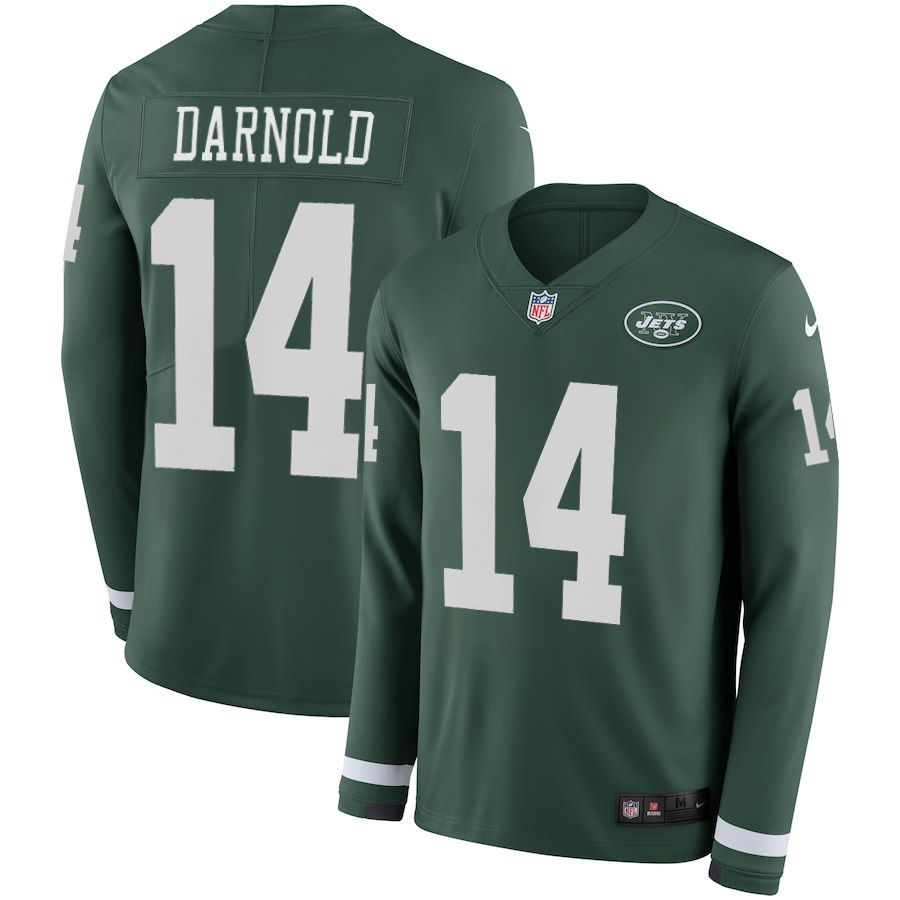 Women's New York Jets #14 Sam Darnold Green Therma Long Sleeve Stitched NFL Jersey