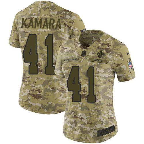 Women's New Orleans Saints #41 Alvin Kamara 2018 Camo Salute to Service Limited Stitched NFL Jersey