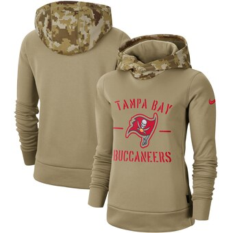 Women's Tampa Bay Buccaneers Khaki 2019 Salute to Service Therma Pullover Hoodie(Run Small)