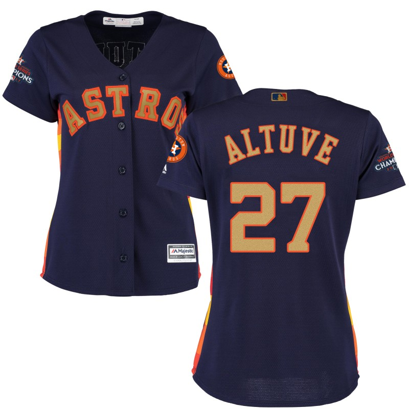 Women's Houston Astros #27 Jose Altuve Navy 2018 Gold Program Cool Base Stitched MLB Jersey