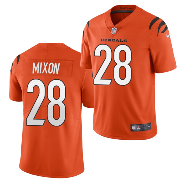 Women's Cincinnati Bengals #28 Joe Mixon 2021 New Orange Vapor Limited Stitched Jersey(Run Small)