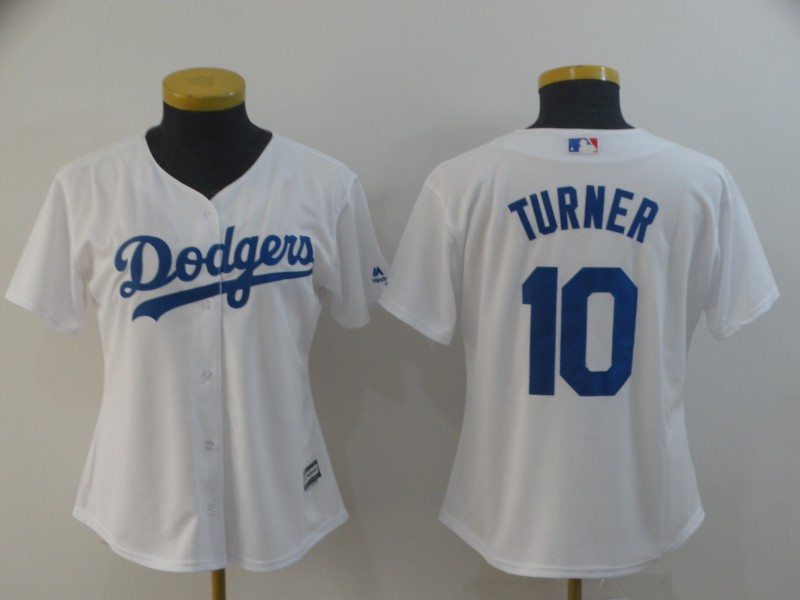 Women's Los Angeles Dodgers #10 Justin Turner White Cool Base Stitched MLB Jersey(Run Small)