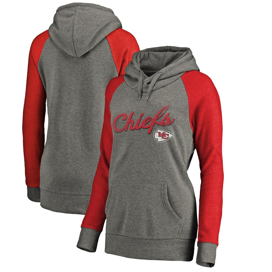 Women's Kansas City Chiefs Grey Timeless Collection Rising Script Tri-Blend Raglan Pullover Hoodie(Run Small)