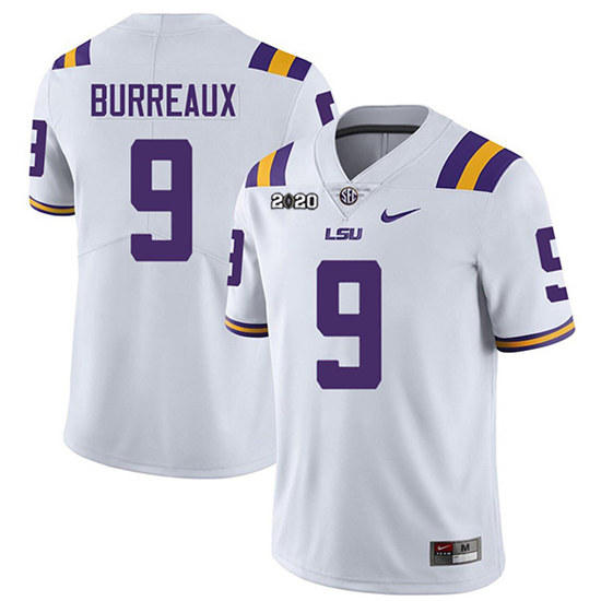 Women LSU Tigers #9 Joe Burreaux White With 2020 Patch Limited Stitched NCAA Jersey