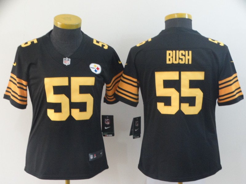 Women's Pittsburgh Steelers #55 Devin Bush Black Color Rush Limited Stitched NFL Jersey(Run Small)