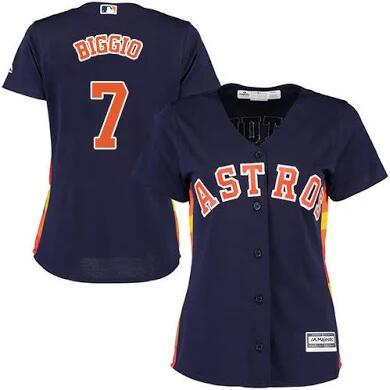 Women's Houston Astros #7 Craig Biggio Navy Cool Base Stitched MLB Jersey(Run Small)