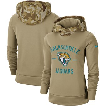 Women's Jacksonville Jaguars Khaki 2019 Salute to Service Therma Pullover Hoodie(Run Small)