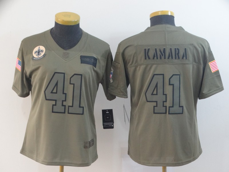 Women's New Orleans Saints #41 Alvin Kamara 2019 Camo Salute To Service Stitched NFL Jersey(Run Small)