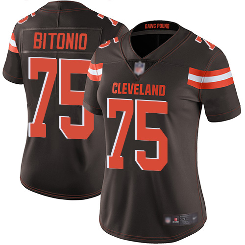 Women's Cleveland Browns #75 Joel Bitonio Brown Vapor Untouchable Limited Stitched NFL Jersey(Run Small)