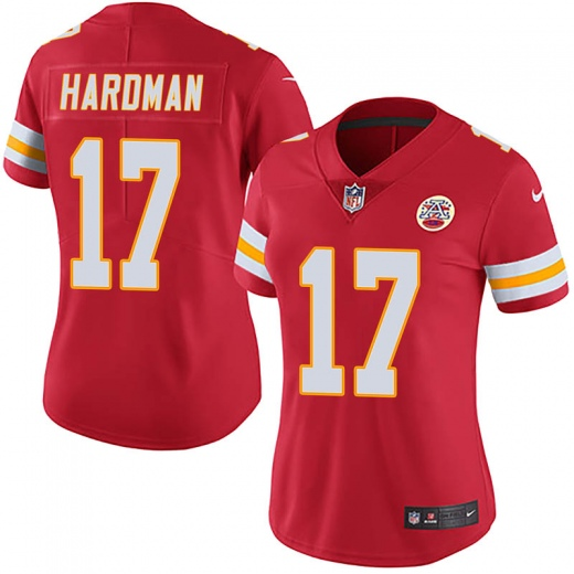 Women's Kansas City Chiefs #17 Mecole Hardman Red Vapor Untouchable Limited Stitched NFL Jersey(Run Small)
