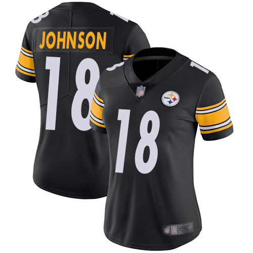 Women's Pittsburgh Steelers #18 Diontae Johnson Black Vapor Untouchable Limited Stitched NFL Jersey(Run Small)