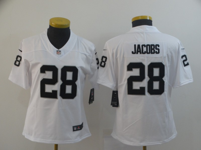 Women's Oakland Raiders #28 Josh Jacobs White Vapor Untouchable Limited Stitched NFL Jersey(Run Small)